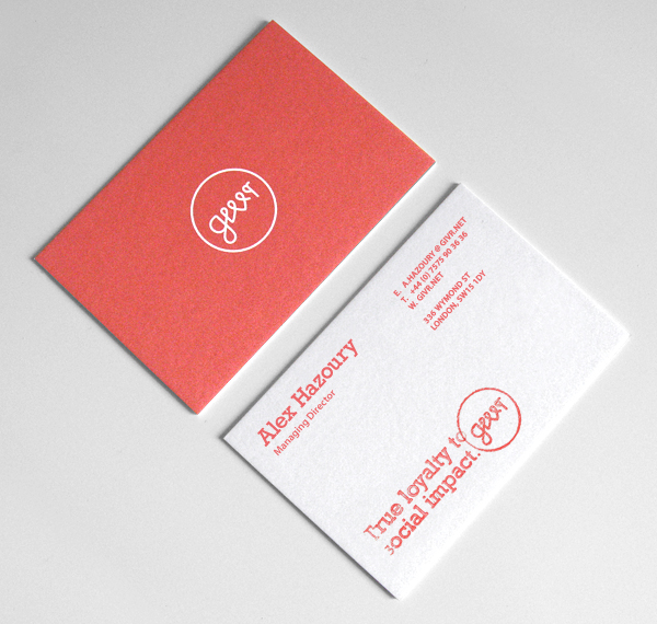Givr Business Card designed by Richard Baird